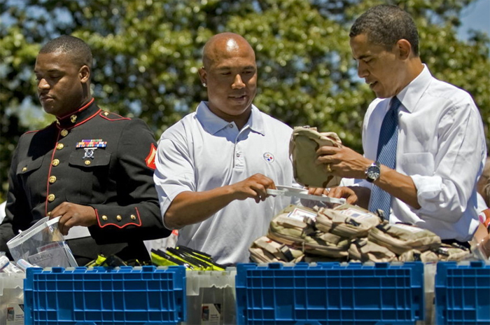 BLACK PRESIDENT OBAMA WITH BLACK SOLDIER, BLACK STEELER!-A PRESIDENT WE CAN RELATE TO!