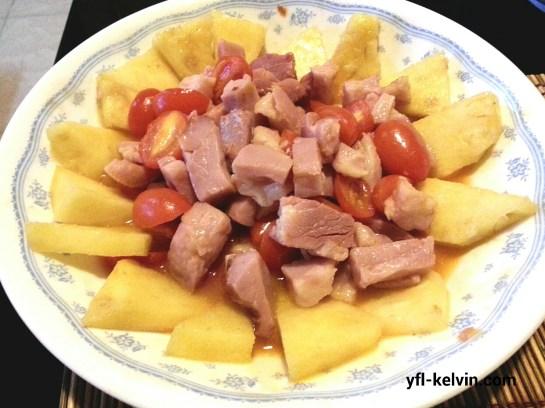 菠蘿蜜茄炒黑椒豬手肉2