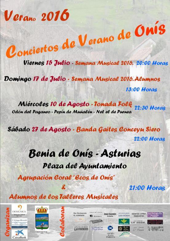 CARTEL CONCIERTOS DE VERANO DE ONIS 2016