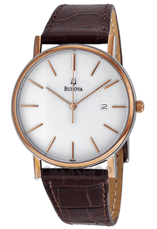Bulova Dress Series White Dial Rose Gold-tone Case Men's Watch, $87.14