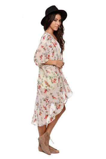 $39.95, LA Hearts Maxi Ivory Floral Kimona, Pacsun