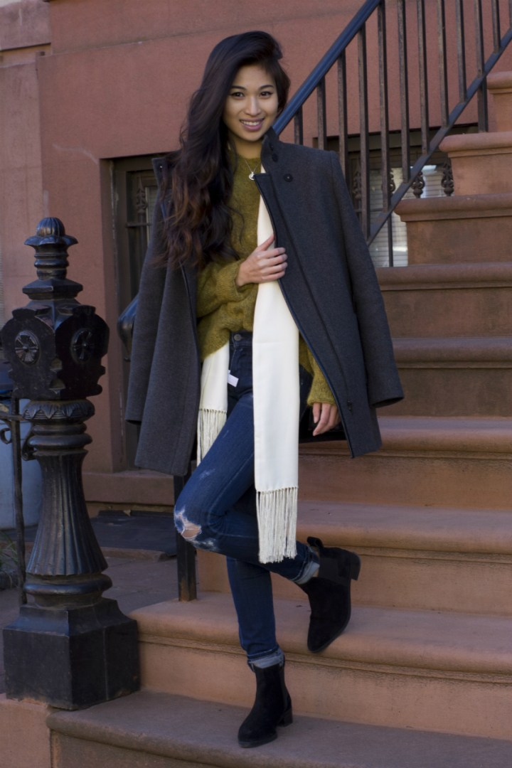 Coat from Theory, sweater from H&M, silk scarf from J. Crew, Citizen of Humanity Avedon Skinny, & Other Stories suede ankle boots, and Proenza Schouler PS11