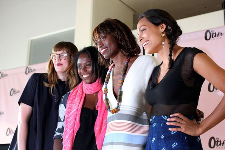 Melissa Giannini, Editor-in-Chief of Nylon; Abrima Erwiah, Rosario Dawson, and Poku