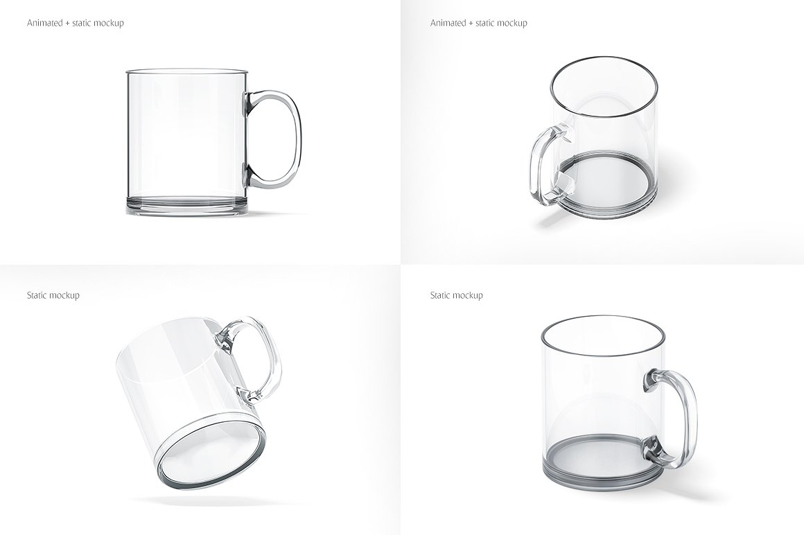 Glass Mug Animated Mockup in Stationery Mockups on Yellow