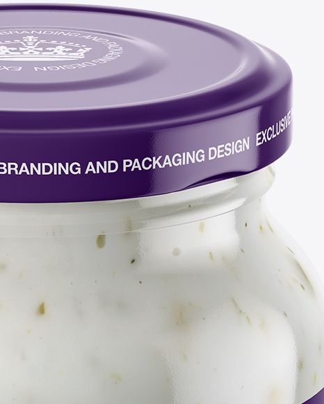 Download Clear Glass Garlic Sauce Jar Psd Mockup Yellowimages