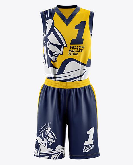 Download Women's Full Basketball Kit with V-Neck Jersey Mockup ...