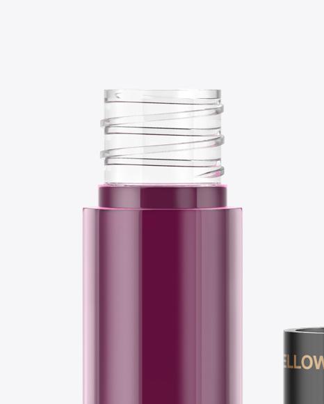 Download Glossy Lip Gloss Bottle Box Psd Mockup Yellow Images