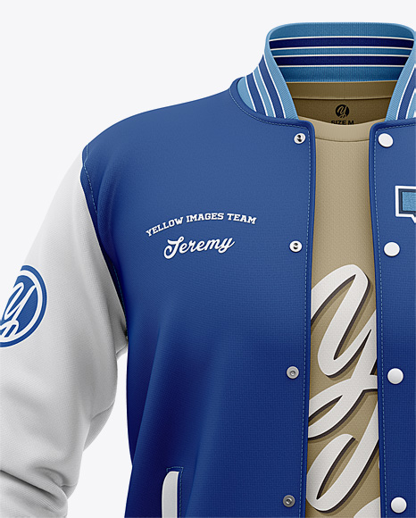Track jacket varsity template design mockup vector. Varsity Bomber Jacket T Shirt In Apparel Mockups On Yellow Images Object Mockups
