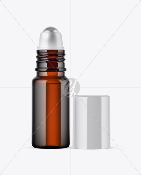 Download Amber Glass Roller Bottle Psd Mockup Yellowimages