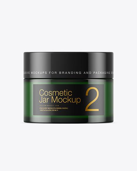 Download Dark Green Glass Cosmetic Jar Psd Mockup Yellow Images