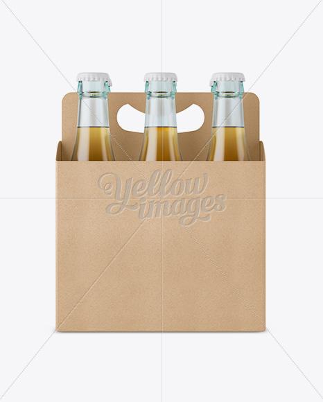 Download Kraft White Wine Bottles Box Psd Mockup Half Side View Yellow Images