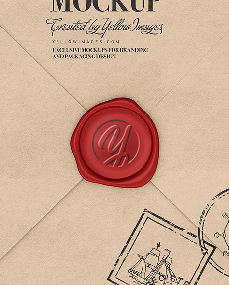 The sample is free, and can be edited without extra effort in photoshop. Kraft Paper Envelope With Wax Mockup In Stationery Mockups On Yellow Images Object Mockups