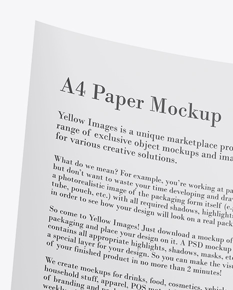 Download Realistic Paper Mockup Yellow Images