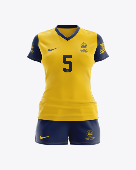 Download Free Women's Rugby Kit with V-Neck Jersey Mockup - Front ...