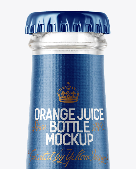 Download Clear Glass Bottle With Orange Juice Psd Mockup Yellow Images