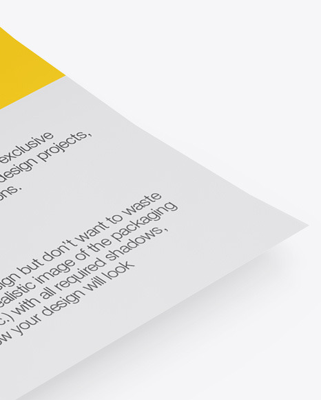 Paper Mockup in Stationery Mockups on Yellow Images Object Mockups