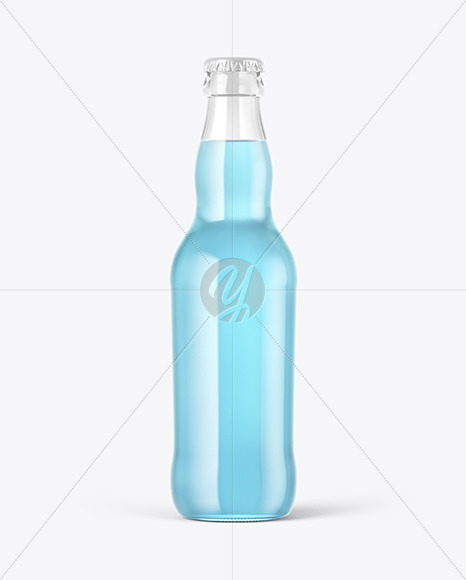 Download Green Glass Beer Bottle With Condensation Psd Mockup Yellow Images