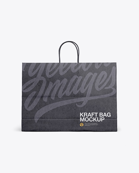 Download Kraft Shopping Bag With Rope Handle Psd Mockup Front View Yellowimages