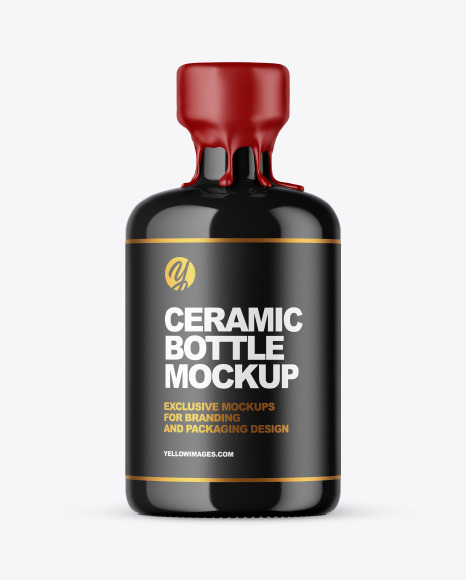 Download Ceramic Bottle With Wax Psd Mockup Yellow Images