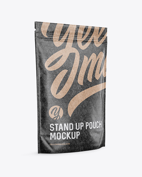 Download Kraft Stand Up Pouch Psd Mockup Halfside View Yellow Images