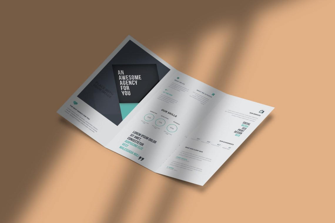 Download A4 Tri Fold Brochure Mockup Psd Free Download Yellowimages