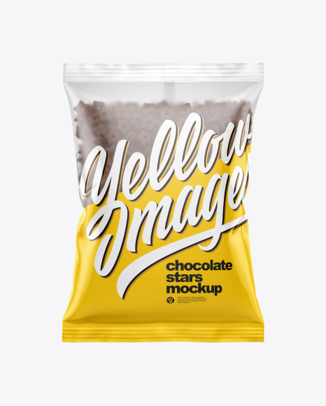 Download Bag With Chocolate Stars Cereal Psd Mockup Yellowimages