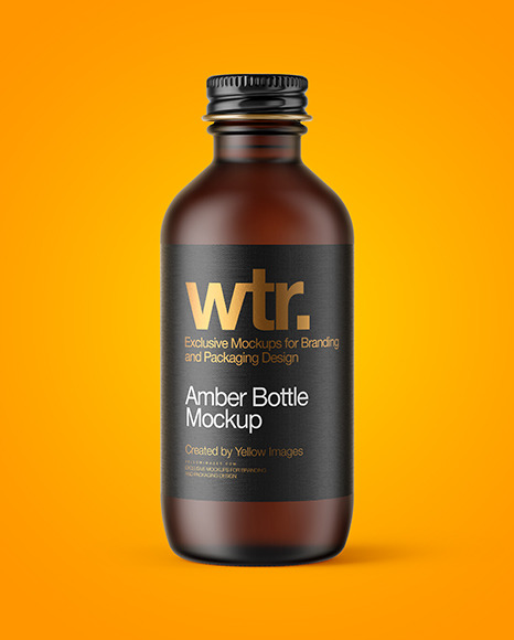 Download Frosted Amber Bottle Psd Mockup Yellowimages