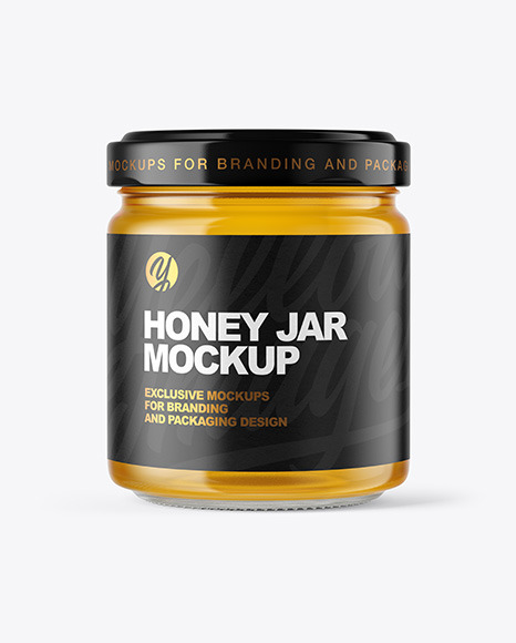 Download Glass Jar Honey Psd Mockup Yellow Images