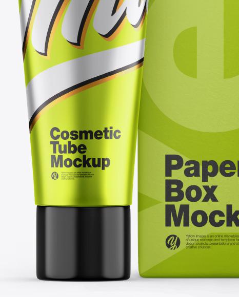 Download Metallic Cosmetic Bag Psd Mockup Yellow Images