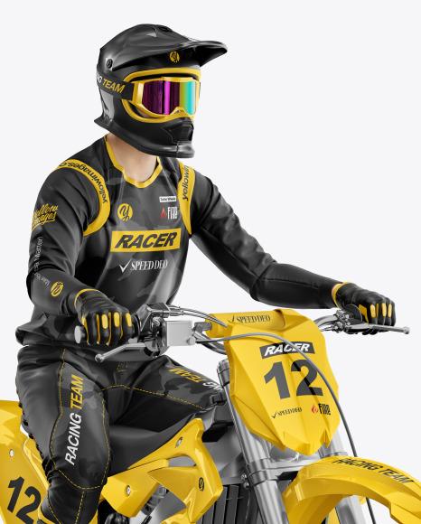 Download Motocross Racing Kit Mockup in Vehicle Mockups on Yellow ...