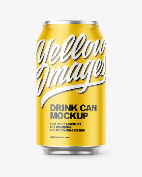 Download Glossy Aluminium Drink Can Psd Mockup Yellow Images
