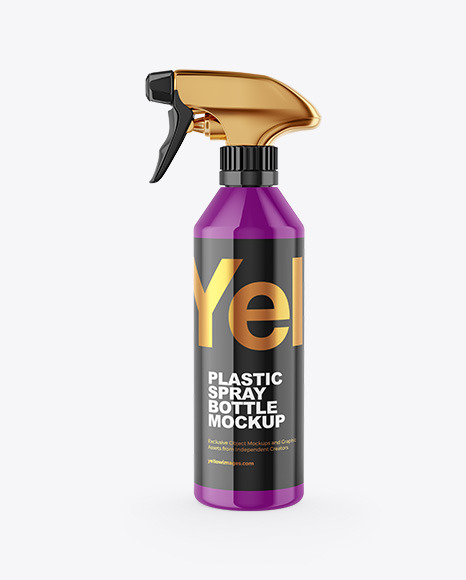 Download Glossy Plastic Bottle With Trigger Sprayer Psd Mockup Yellowimages