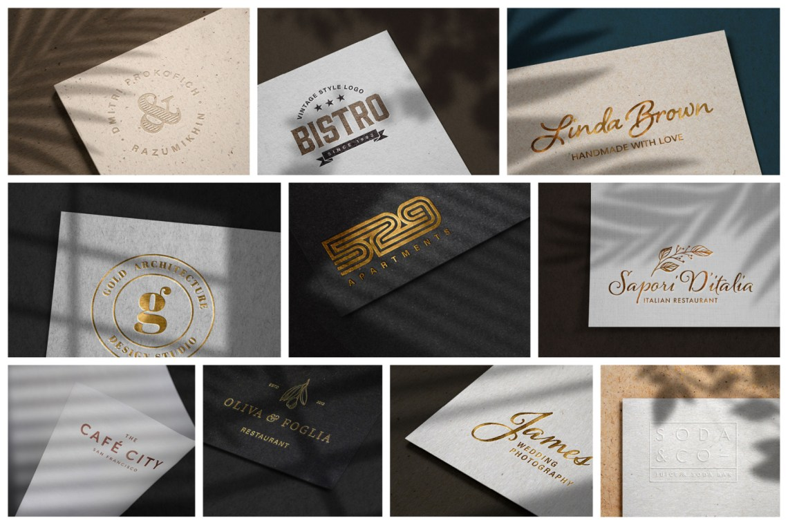 Download Logo Mockup Gold Psd Yellowimages