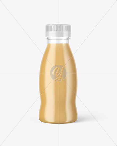 Download Clear Glass Bottle With Cold Brew Latte Psd Mockup Yellowimages