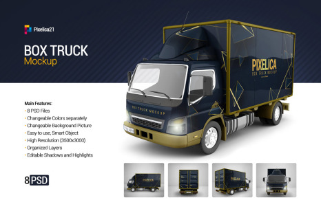 Download Box Truck Mockup in Vehicle Mockups on Yellow Images ...