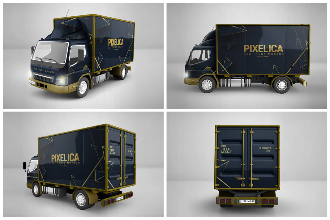 Box Truck Mockup in Vehicle Mockups on Yellow Images ...