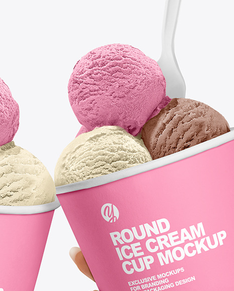 Download Three Glossy Ice Cream Cups Psd Mockup Yellowimages