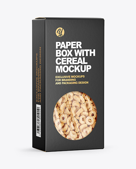Download Paper Box with Breakfast Cereal Mockup in Box Mockups on ...
