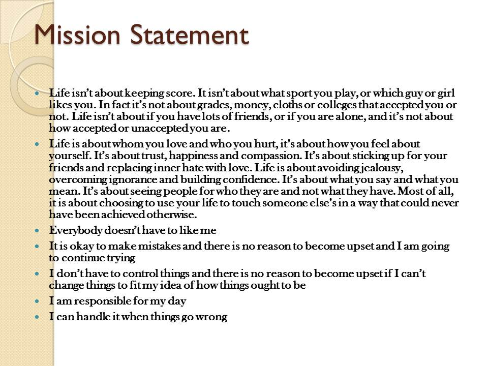 Nursing mission statement essay