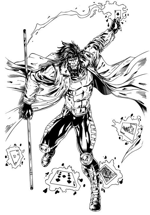 Character Illustration – Inking – Gambit