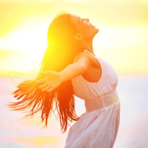 happy woman. controlled emotions. emotional health. chakras