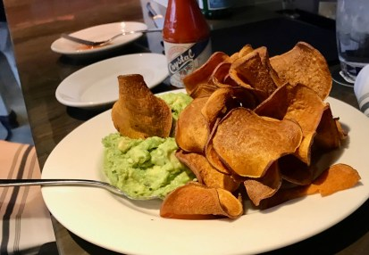 Guac with sweet potato chips