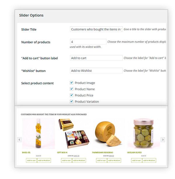 Products in slider wishlist