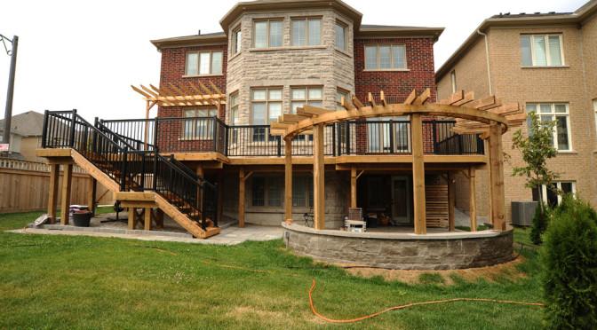 Cedar High Deck And Half Round Pergola Yk Wood Working