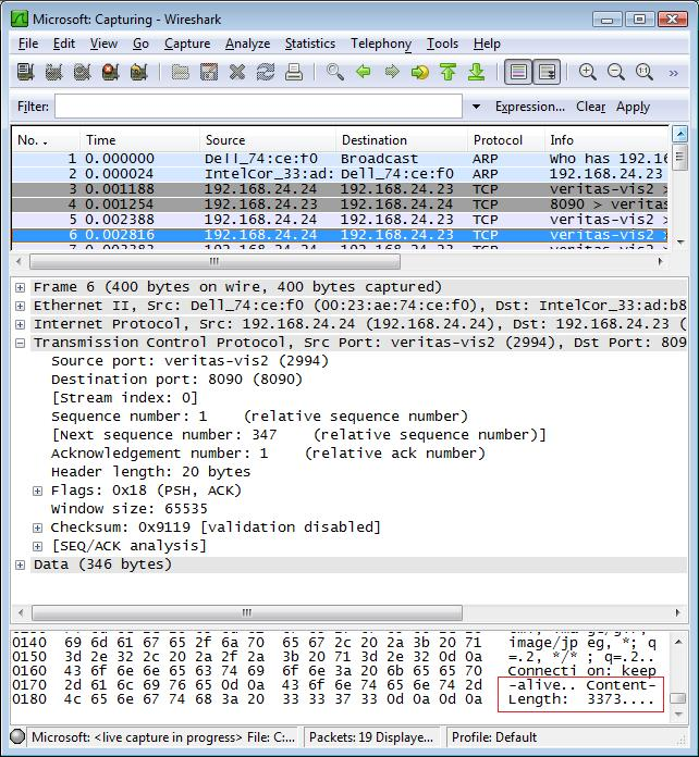 View the data in the TCP packet