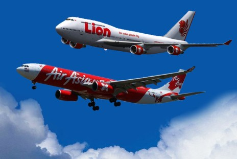 Ilustrasi Air Asia dan Lion Air