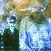 mixture sur papier marouflé sur toile 120 x 120 cm