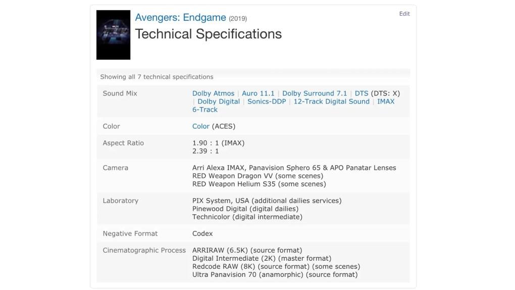 Avengers: Endgame IMDB Tech Spec