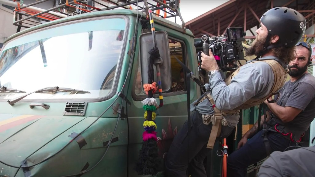 Engineering the car chase shots. Director Sam Hargrave on the set of Extraction. Picture: Ars Video