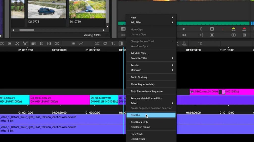 Find bin from timeline on Avid Media Composer 2021.3. Picture: Avid